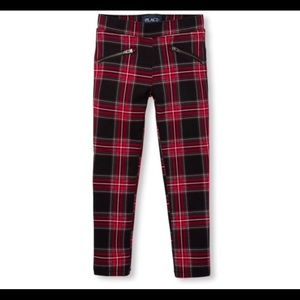 Girls Plaid Ponte Knit Pull On Jeggings Size 6X/7